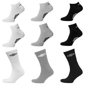 Mens Umbro Trainer Quarter Sports Socks Black Grey White Shoe Liner Size 6-11
