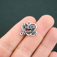 BULK 25 I Love Cheerleading Charms Antique Silver Tone - SC4820