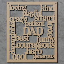 Dad Words Sign - Fathers Day Wooden Laser Cut mdf Craft Shapes and Gifts