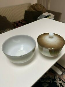 VINTAGE MCM 60s 70s FEDERAL GLASS Mesa Moss Mixing Bowl PLUS Canister with Lid
