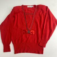VTG Marisa Christina Sweater Womens L Red Knit Bow Embellished V-Neck Wool Blend