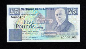 1988 5 FIVE POUNDS NORTHERN BANK LTD BANKNOTE IRELAND IRISH BELFAST UNC? UK RARE