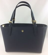 New Authentic Tory Burch Emerson (49127) Small Buckle Tote Purse Handbag Navy