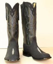 "Handmade Cowboy Boots Men's 11.5 D Navy Blue Stingray 15"" Tall Black Buffalo Top"