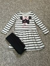 H&M Disney Minnie Mouse Girls Striped Dress and Leggings Age 3-4 Years Sequin