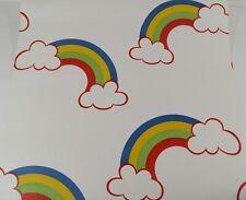 VINTAGE NOVELTY WALLPAPER ROLL RAINBOW CLOUDS NURSERY KID'S ROOM 70 SQ. FT.