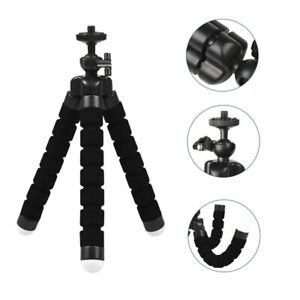 Small Adjustable Mount iPhone Samsung Tripod Stand w/ Phone Holder Octopus BLACK