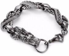 Cabeza De Dragón Plata Pulsera de enlace de Estaño Dragón Lobo Viking Norse Brazalete chino
