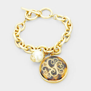 "Tortoise Monogram Initial G Script Bracelet Chain Link Toggle Gold   7- 8.5"""