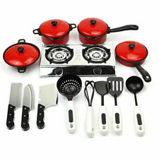 Children Kids Play House Toy Cookware Kitchen Utensils Pots Cooking Food Dishes