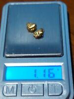 ➡➡ USA GOLD NUGGET 1.16 GRAMS 2xALASKA PLACER 20-22K PURE 2020 GOLD RUSH!!!