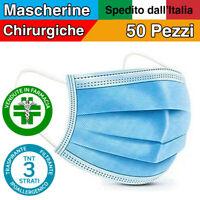 50X MASCHERINE CHIRURGICHE FFP1 MASCHERINA CHIRURGICA 3 STRATI MONOUSO TNT