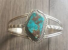 """SIGNED/STAMPED"" NAVAJO SPIDERWEB TURQUOISE & STERLING SILVER CUFF BRACELET"