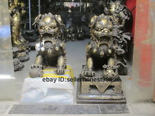 Chinese Royal Pure Bronze evil Guardian Palace Fu Foo Dog Lion Pair