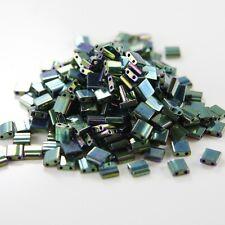10 Grams Miyuki Tila Beads-Green Malachite Opaque Iris Metallic (TL468)