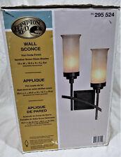 Hampton Bay Wall Sconce Light Fixture-Iron Oxide Finish/Opaque Shades-Modern