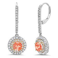 2.52 Round Cut Halo Red Simulated Diamond Drop Dangle Earrings 14k 2 tone Gold