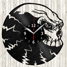Skull Vinyl Record Wall Clock Decor Handmade 1563