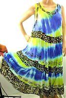 Aqua Blue Women Plus One Free Size Blue Green Tie Dye Boho Gypsy Cover Up Dress
