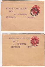 EDVII: 2 Penny Newspaper Wrappers; Liverpool-Switzerland, 1 Dec 1905/23 Jan 1907