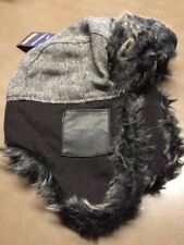 Boys Cherokee Trapper Hat With Faux Fur Black/White OSFM New NOS