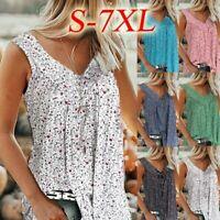 Women Holiday Summer Vest Tank Tops Loose Baggy Sleeveless Tunic Shirt Blouse UK