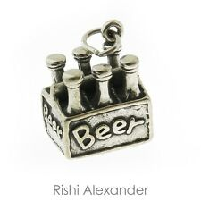 925 Sterling Silver 6 pack of Beer Charm Made in USA