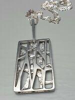 Vintage Silber Kette Modernist 60er/70er Jahre 925 Silber & 925 Silber Kette/F19