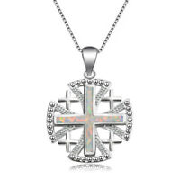 "European Cross Design White Fire Opal Gems Vintage Silver Necklace Pendant 1.25"""
