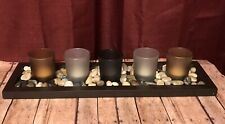 Sarah Peyton Home Earth Tone Candle Set With Votives And River Rocks