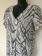 Size 14 Smart Flattering White Light Grey Light Summer Dress