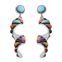 Women's 925 Sterling Silver Santa Fe Style Turquoise Swirl Dangle Earrings Ct 14