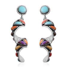 Turquoise Swirl Dangle Earrings Ct 14 Women's 925 Sterling Silver Santa Fe Style