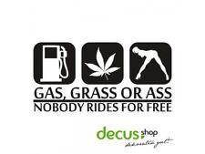 GAS GRASS OR ASS NOBODY RIDES FOR FREE L 1873 13x7 cm // Sticker JDM Aufkleber F