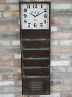 Industrial Wall Clock Rustic Metal Storage Filing Shelves Vintage Retro Cabinet