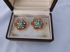 BOUCHER EARRINGS VINTAGE 1980's FAUX PEARL AND TURQUOISE