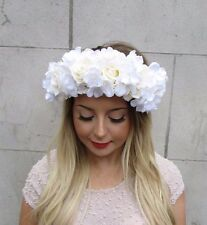 Large White Cream Ivory Hydrangea Rose Flower Garland Headband Headpiece 2738