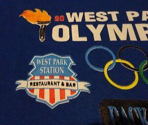 OLYMPICS BAR GAMES Sports Pub Restaurant Competitor Blue T Shirt sizeLarge