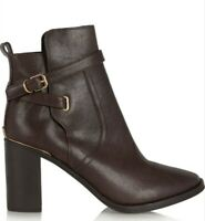 TORY BURCH KAYDEN BROWN LEATHER ROUND TOE ANKLE BOOTS SIZE 8