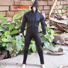 """1:6 Scale Black Tight Jumpsuit Hoodie For 12"""" Male DAM HT SS Action Figure"""