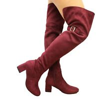 Ladies Womens Block Mid Heel Thigh High Over The Knee Wide Calf BOOTS Shoes Size UK 5 / EUR 38 / US 7 Red Wine Back Slit
