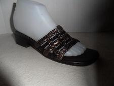 "Brighton ""RITA"" Bronze Metallic Leather Slide Sandals size 9 N"