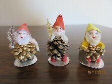 Vintage Pinecone Elves, Lot Of 3, Plastic Faces, Gold Paint, Japan, #3