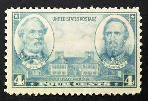 788 MNH 1937 4c Robert E. Lee Stonewall Jackson Confederate Generals Stratford