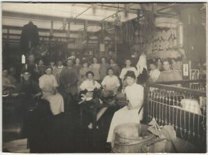 Men & Women Workers on Clothing Factory Work Floor Occupational Cabinet Card