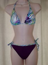 BRAZILIAN CUT SUIMSUIT TRIANGLE PAD TOP AND THONG BOTTOM MULTICOLOR SIZE S