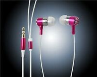 EARPHONES EARBUDS CRYSTAL iPOD MP3 MP4 IN PINK **NEW**