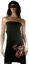 AMPLIFIED ROLLING STONES Strass Tongue Rock Star Design ViP Dress Top Shirt S