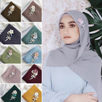 Women Rhinestone Shawl Head Scarf Islamic Muslim Hijab Wrap Scarves Arab Shayla
