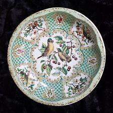 "Vintage Daher Decorated Ware Tin Bowl Green Gold Birds 10"" Diameter England"